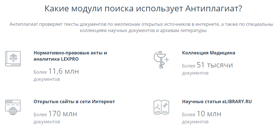 Список модулей сервиса Антиплагиат ру